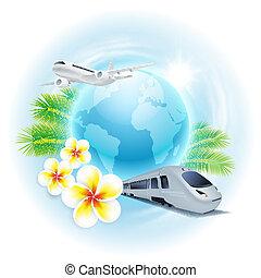 concept, globe, train, voyage, illustration, avion, fleurs