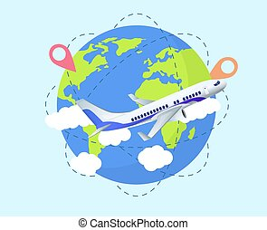 concept, globe, voyage, avion, mondiale