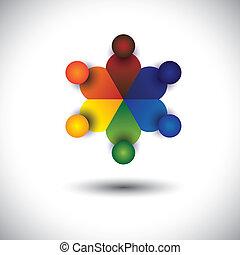 concept, gosses, enfants, ou, vecteur, cercle, jouer