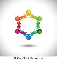 concept, gosses, &, gens, -, ensemble, jouer, vecteur, enfants