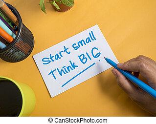 concept, grand, début, motivation, citations, mots, petit, penser