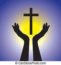concept, graphic., jaune, jésus, bleu, christ, soleil, tenue, seigneur, adorer, chrétien, saint, projection, illustration, cross-, dévot, fond, fidèle, foi, ceci, personne, vecteur