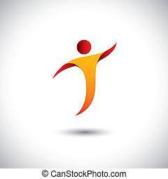 concept, graphic., sports, aérobic, filer, personne, -, aussi, danse, yoga, danse, illustration, icône, mouche, représente, aimer, ceci, etc, vecteur, acrobaties, activité, gymnastique