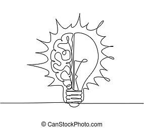 concept., graphique, dessiner, psychologique, dessin, unique, ampoule, génie, lumière, illustration, humain, ligne, moderne, une, conception, logotype, logo, icône, cerveau, gabarit, emblem., moitié, continu, vecteur
