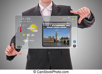 concept, graphique mondial, fait, utilisateur, numérique, interface, homme affaires, présentation, futuriste