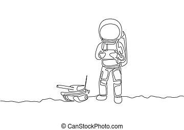 concept., graphique, passe-temps, dessiner, style de vie, galaxy., dessin, unique, lune, illustration, ligne, cosmique, dynamique, astronaute, jouer, réservoir, une, extérieur, conception, contrôle, espace, radio, continu, vecteur, guerre