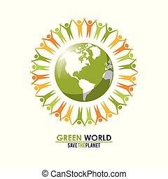 concept, groupe, autour de, gens, planète, vert, mondiale