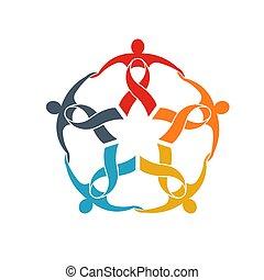 concept, groupe, fort, soutien, ruban, collaboration, communauté, cinq, aller, gens, logo.