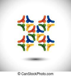 concept, groupe, &, gens, communauté, unité, vecteur, ou, solidarité