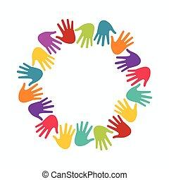 concept, groupe, gens, union, mains, enfants, circle.