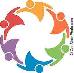 concept, groupe, gens, union, travail, 6, équipe, circle.