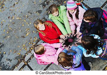 concept, groupe, jeune, écolières, collaboration, amitié
