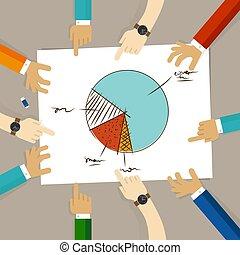 concept, groupe, pointage, bureau affaires, travail, graphique circulaire, regarder, planification, papier, mains, équipe, collaboration