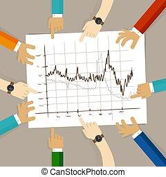 concept, groupe, pointage, business, graphique, travail bureau, diagramme, regarder, planification, papier, mains, ligne, équipe, collaboration