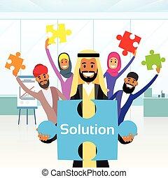 concept, groupe, prise, professionnels, puzzle, puzzle, solution, arabe, arabe, morceau