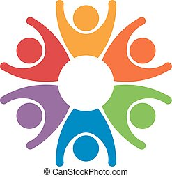 concept, groupe, reussite, gens, travail, 6, winners., équipe