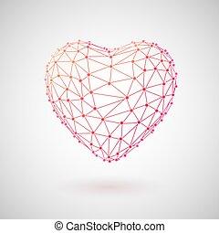 concept, heart., monde médical, polygonal, healthcare., technologie, 3d