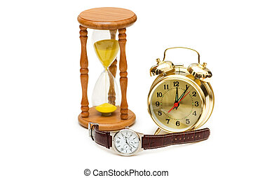 concept, heure, montre, horloge, verre, temps