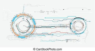 concept, hud., virtuel, toucher, graphique, interface utilisateur, futuriste