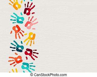 concept, humain, couleur, main, fond, impression