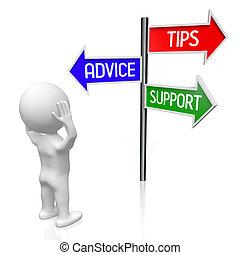 concept, illustration/, flèches, conseil, -, trois, rendre, poteau indicateur, 3d