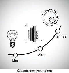 concept, illustration., idée, vecteur, action, plan