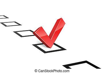 concept, illustration., vecteur, vote, tique, rouges, 3d