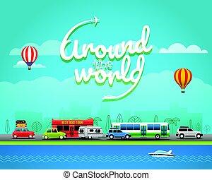 concept, illustration., voyage, vecteur, mondiale, autour de