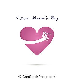 concept., international, vecteur, coeur, main, femmes, logo, symbole., jour, conception, minimalistic