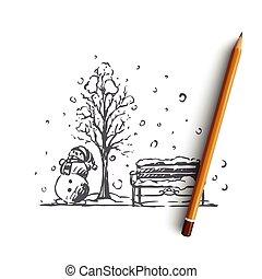 concept., isolé, vector., ville, hiver, bonhomme de neige, parc, main, dessiné