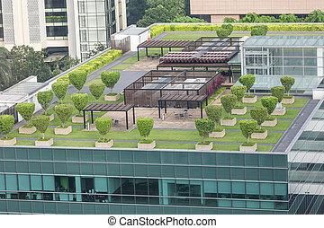 concept, jardin, toit