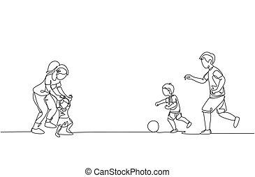 concept., jeune, football, dessiner, heureux, parenting, dessin, unique, illustration, fille, ligne famille, dynamique, enseignement, jouer, une, quoique, conception, fils, promenade, père, mère, field., continu, vecteur