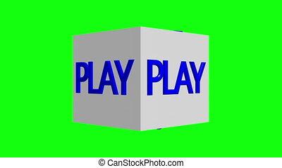 concept, jouets, blanc, jeu, cubes, écran, tourner, vert