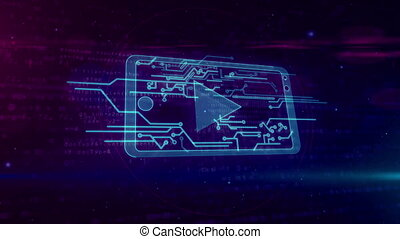 concept, joueur, mobile, média, cyber, faire boucle, animation