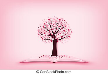 concept, jour, style., coupure, amour, forme, coeur papier, art., valentine, feuilles, arbre, croissant, métier, livre, illustration, numérique, ouvert