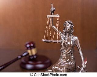 concept, justice, bois, statue, droit & loi, marteau