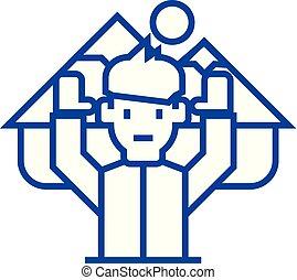 concept., ligne, vecteur, voyage, décision, symbole, plat, icône, signe, homme, contour, final, illustration.