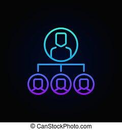 concept, linéaire, outsourcing, clair, vecteur, icône