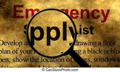 concept, liste, recherche, urgence, fourniture, verre, magnifier