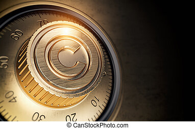 concept., lock., protection copyright, code, symbole, voûte, propriété intellectuelle