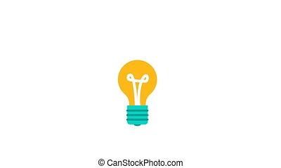 concept, lumière, idée, 2d animation, ampoule, nouveau