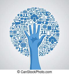 concept, média, arbre, main, social, réseaux