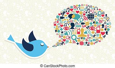 concept, média, gazouillement, social, commercialisation, oiseau