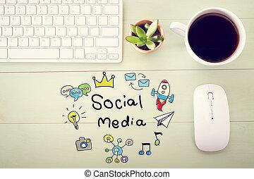 concept, média, social, station travail