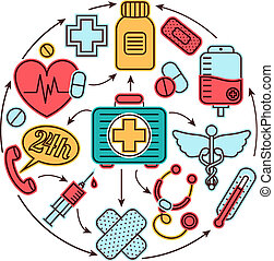 concept médical, icônes