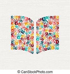 concept, main, livre, humain, impression, education