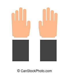 concept., main, vecteur, icon., doigts, humain, graphique