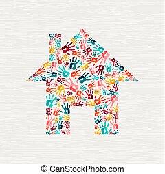 concept, maison, communauté, main, humain, impression