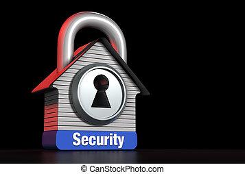 concept, maison, droit, texte, serrure, sécurité maison