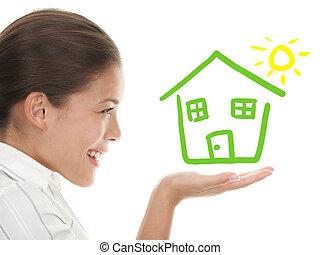 concept, maison, idée, propriétaire, beeing, heureux